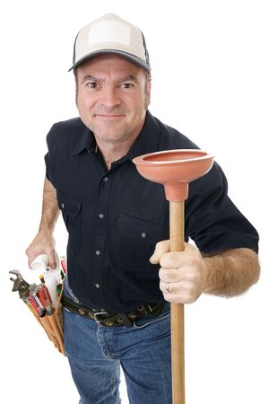 Handsome plumber eager to tackle your plumbing problems.   photo