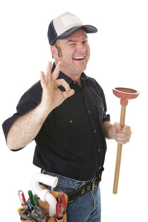 handy: Plumber winking and giving the okay sign.  Isolated on white.   Stock Photo