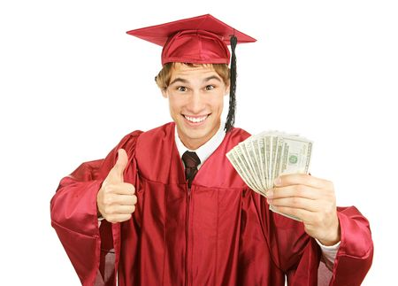 Excited graduate holding a fist full of cash for college and giving a thumbs-up sign.  Isolated on white.