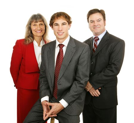 competent: Portrait of three friendly, competent business people.  Isolated on white.   Stock Photo