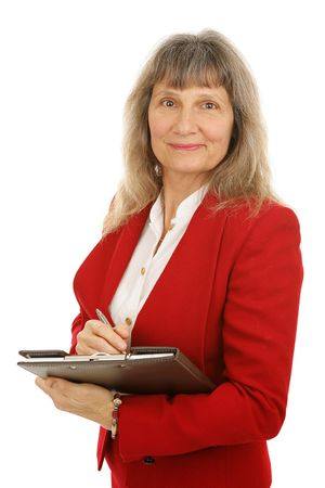 competent: Friendly, competent mature businesswoman or realtor taking notes.  Isolated on white.