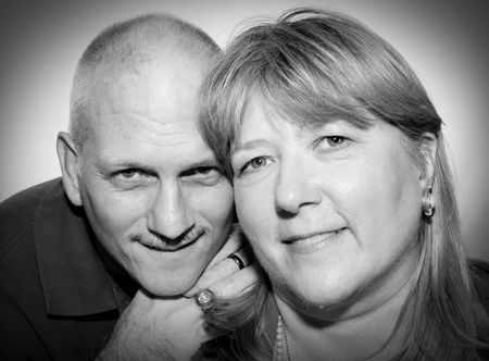 Black and white portrait of a mature couple.  photo