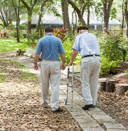Father and son strolling through the garden together.  The father is in a walker.   Stock Photo