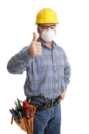journeyman: Construction worker giving thumbsup sign, with his tools and safety equipment including hardhat, protective goggles, and dust mask. All content  is accurate and depicted according to industry saftely regulations.