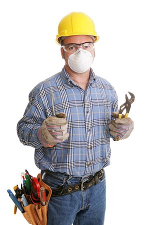 depicted: Construction worker with his tools and safety equipment.  All safety equipment depicted is in compliance with OSHA standards.  Isolated on white.