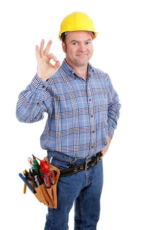 journeyman technician: Authentic construction worker giving the A-okay sign for success.  Isolated on white.