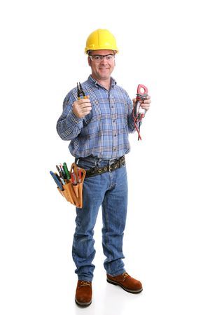 licensed: Friendly electrician in safety gear with his wirestrippers & voltage meter.  Full body isolated on white.