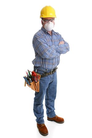 depicted: Construction worker with tools and safety gear, including hardhat, goggles and dust mask.  All equipment depicted is accurate in accordance with industry safety standards.