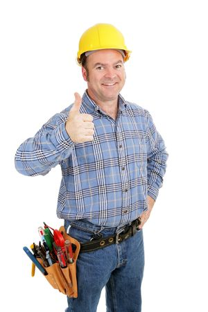 journeyman technician: Handsome construction worker giving thumbsup sign.  Isolated on white.