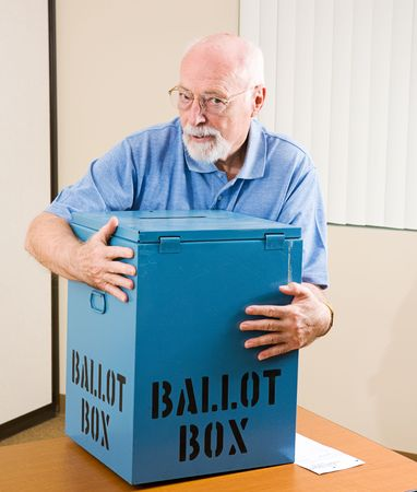 polling: Senior man stealing a ballot box from an election polling place.