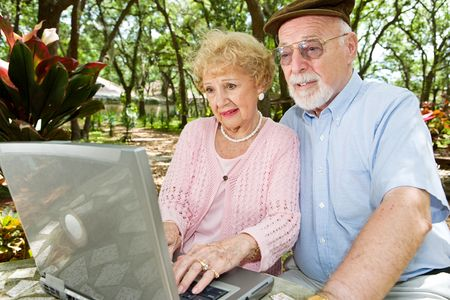 browses: Senior couple with laptop browses the internet in a beautiful outdoor setting.