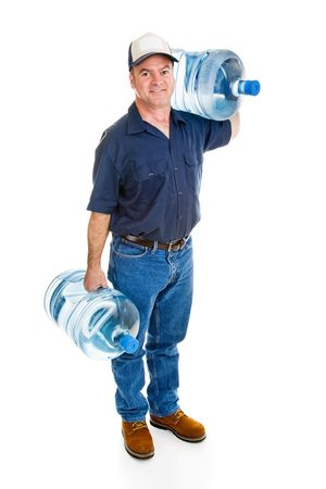 gallon: Strong delivery man carrying two five gallon water bottles.  Full Body isolated on white.   Stock Photo