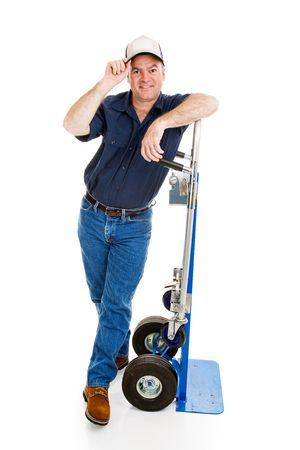 tipping: Deliver man or mover leaning on his dolly and tipping his hat.  Full body isolated on white.   Stock Photo