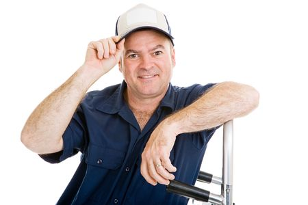 leaning on the truck: Delivery man or mover with with dolly, tipping his hat.  Isolated on white with room for text on hat.