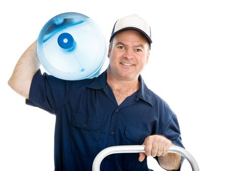 man pushing: Friendly, appealing delivery man pushing a dolly, with five gallong jug on his shoulder.  Isolated on white.