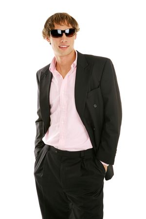 fashionable sunglasses: Handsome young businessman posing in fashionable sunglasses.  Isolated on white.