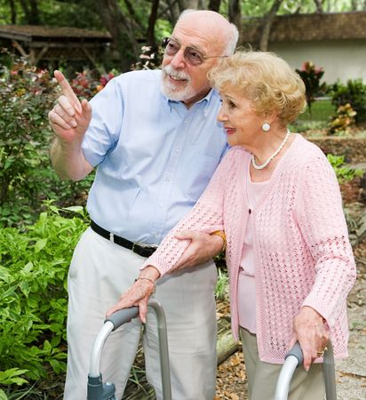 Senior couple taking a walk outdoors together.  She's using a walker. Stock Photo - 3051162