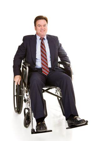 車椅子でハンサムな中央高齢者ビジネスマン。フルボディの白で隔離されます。