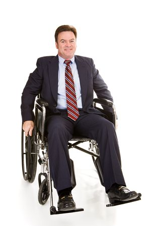 Handsome middle aged businessman in wheelchair. Full body isolated on white.