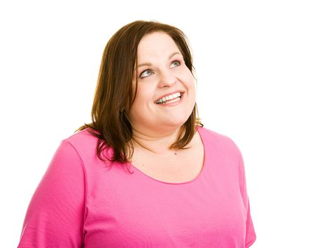 Beautiful plus-sized woman daydreaming.  Isolated on white.  Perfect for your thought or speech bubble. Stock Photo