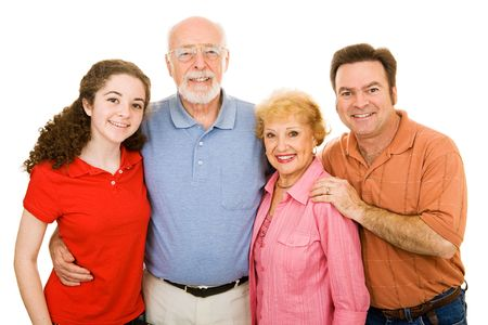 ranging: Family ranging in age from teen to seniors, isolated on white background.