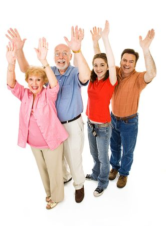 cheer full: Extended family of grandparents, father, and teen daughter, all giving a big cheer.  Full body isolated on white.