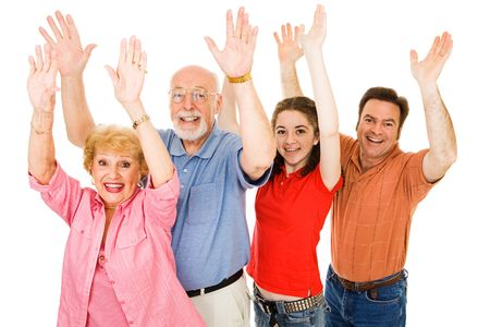 Family of grandparents, father, and teen girl all raising their hands excitedly.  Isolated on white.