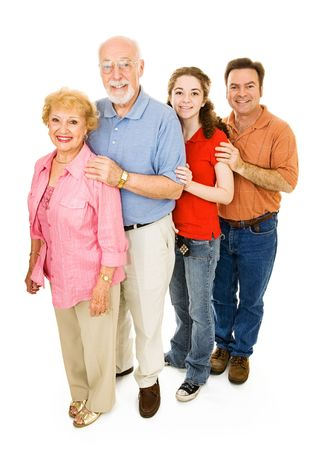 Grandparents, middle aged father, and teen girl, all together.  Full body isolated on white.   Stock Photo - 3079850