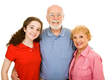 十代の少女と彼女のシニアの祖父母。白で隔離されます。