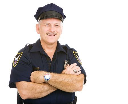 officers: Handsome mature police officer smiling in his uniform.  Isolated on white. (badge and patches are generic, not trademarked) Stock Photo