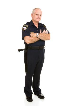 policier: Handsome d'�ge moyen, agent de police. Tout le corps isol� sur blanc. (badge, ainsi que les corrections sont de nature g�n�rique, pas de marque)