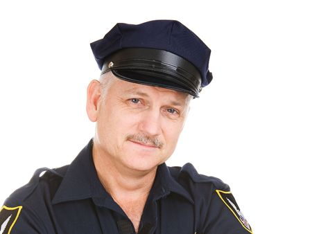 police arrest: Closeup portrait of a handsome mature police officer.   (badge and patches are generic, not trademarked) Stock Photo