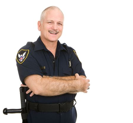 Friendly smiling police officer.  Waist up view isolated on white.   (badge and patches are generic, not trademarked)