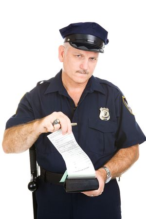 Police officer tearing a blank (generic) citation from his ticket book.  Isolated on white. (badge and patches are generic, not trademarked)