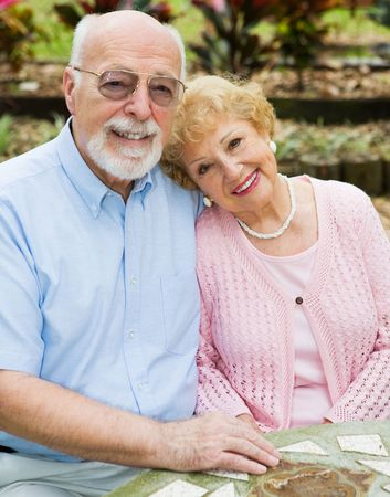 Beautiful senior couple in love in an outdoor setting. Stock Photo - 3105253