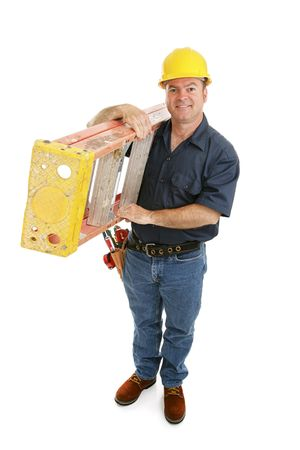 architect tools: Friendly construction worker carrying a ladder over his shoulder.  Full body isolated on white.