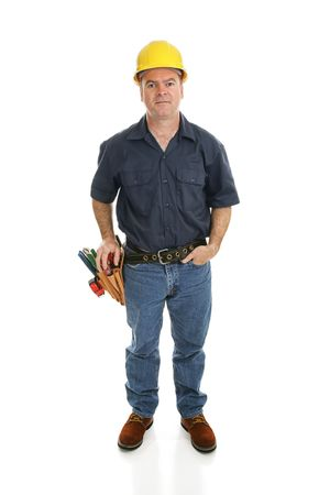 journeyman: Construction worker facing forward.  Full body isolated on white.   Stock Photo