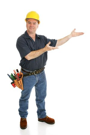 architect tools: Construction worker with his hands in a presenting gesture.  Full body on white.   Stock Photo