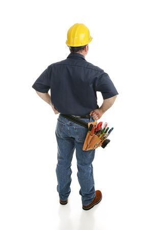 journeyman: Isolated construction worker viewed from behind.  Full body on white.   Stock Photo