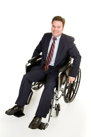 handicapped accessible: Handsome forty year old businessman in a wheelchair.  Full body isolated on white.