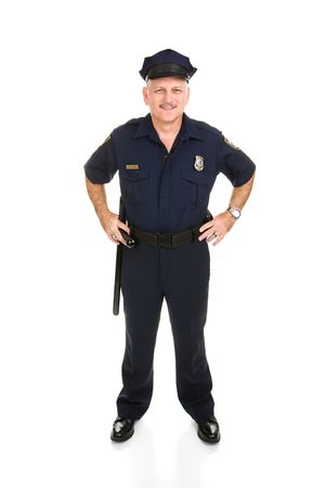 safety officer: Full body frontal view of a handsome, mature police officer.  Isolated on white background. Stock Photo