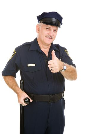Handsome mature police officer giving thumbs up sign.  Isolated on white.