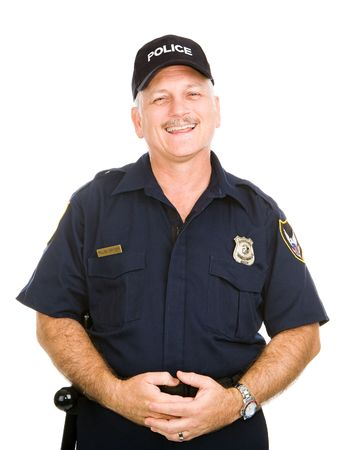 Friendly, jovial police officer isolated against a white background.