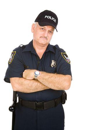 gorra polic�a: Gru��n buscando agente de polic�a aislados en fondo blanco.