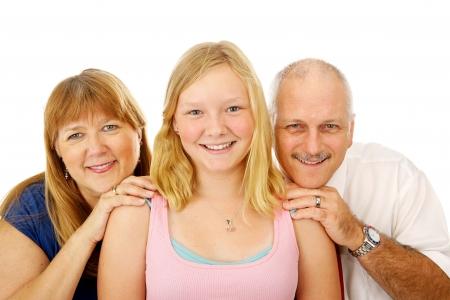 Hermosa rubia, de ojos azules familia. Padre, madre e hija adolescente.  Foto de archivo - 3317988