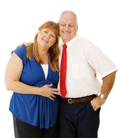 Loving mature couple together, isolated on white background Banco de Imagens