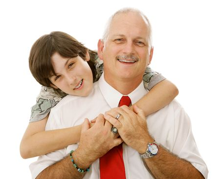 Portrait of handsome father and loving son.  Isolated on white. Stock Photo - 3317977