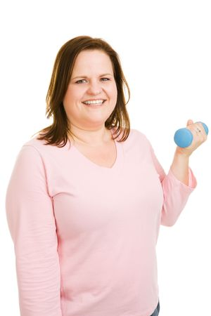 plus sized: Beautiful plus sized model working out with free weights.  Isolated on white.