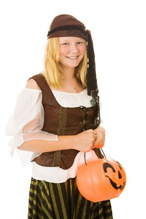 Beautiful blond girl dressed as a pirate for Halloween.  Isolated on white. photo