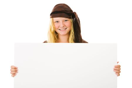 Beautiful girl dressed in her  costume, holding a blank sign.  Design element isolated on white.   photo